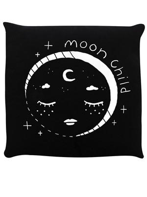 Celestial Moon Child Black Cushion