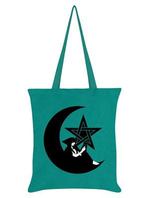 Pentagram Witch Emerald Green Tote Bag