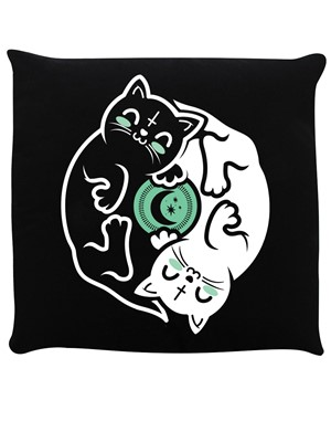 Witchy Kittens Yin Yang Black Cushion