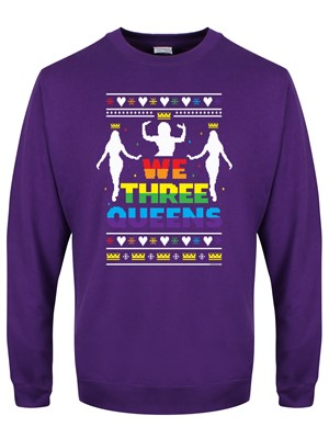 We Three Queens Purple Christmas Jumper