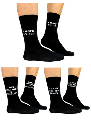 Cockney Spaniel Meeting Is Bollocks Men's Novelty Sock Gift Pack - 3 Pairs Of Cheeky Office Socks