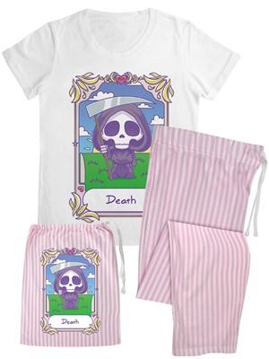 Deadly Tarot Kawaii - Death Ladies Long Candy Stripe Pyjama Set In A Bag