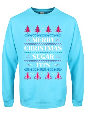 Merry Christmas Sugar Tits Men's Turquoise Christmas Jumper