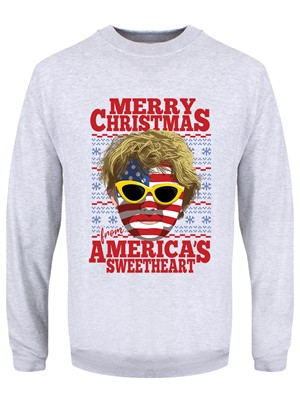 Merry Christmas From America's Sweetheart Men's Grey Christmas Jumper