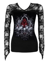 Spiral Legend Of The Wolves Black Lace Neck Goth Top - Buy ...