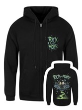6de296dc21c Rick And Morty Space Ship Distressed Men s Zipped Black Hoodie