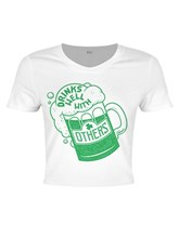 8db465c32d6 St Patrick's Day Drinks Well With Others Ladies White Crop Top