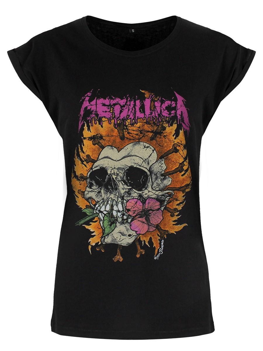 METALLICA T-shirt Fleur Crâne Logo Rose Noir Femme