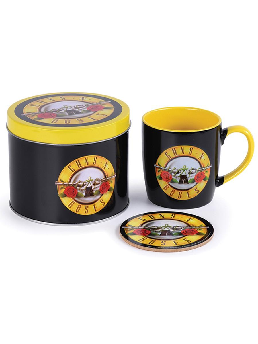 Guns N Roses Mug and Coaster Gift Tin set Bullet Band Logo new Official One Size