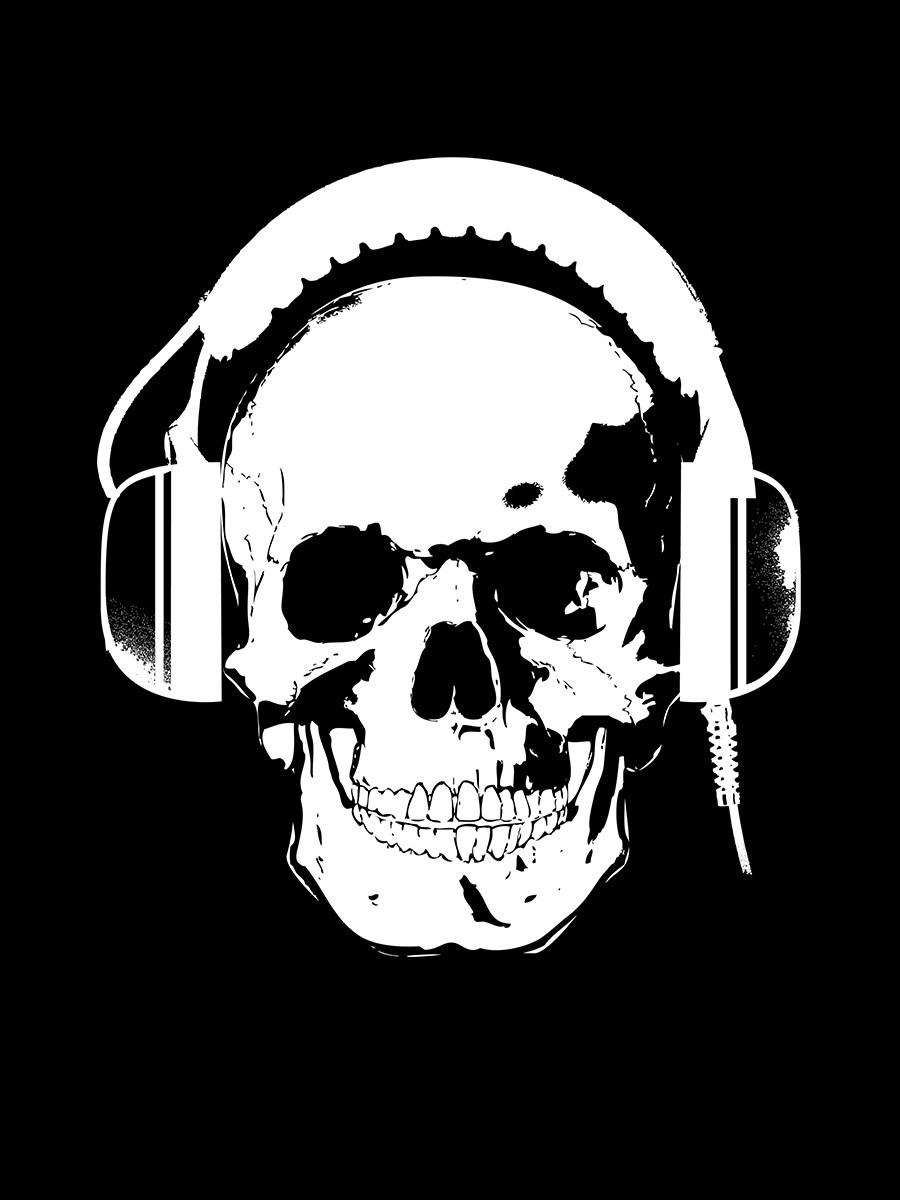 8284304390b Skull Headphones Hoodie - Pullover Black Mens - Buy Online at ...