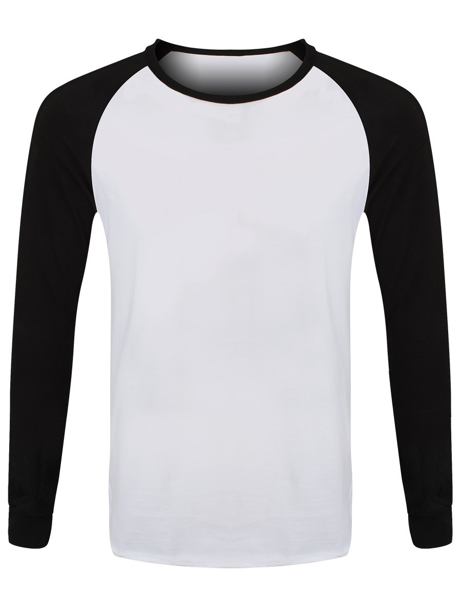 Black white shirt mens longsleeve baseball buy for Mens long sleeve white t shirt
