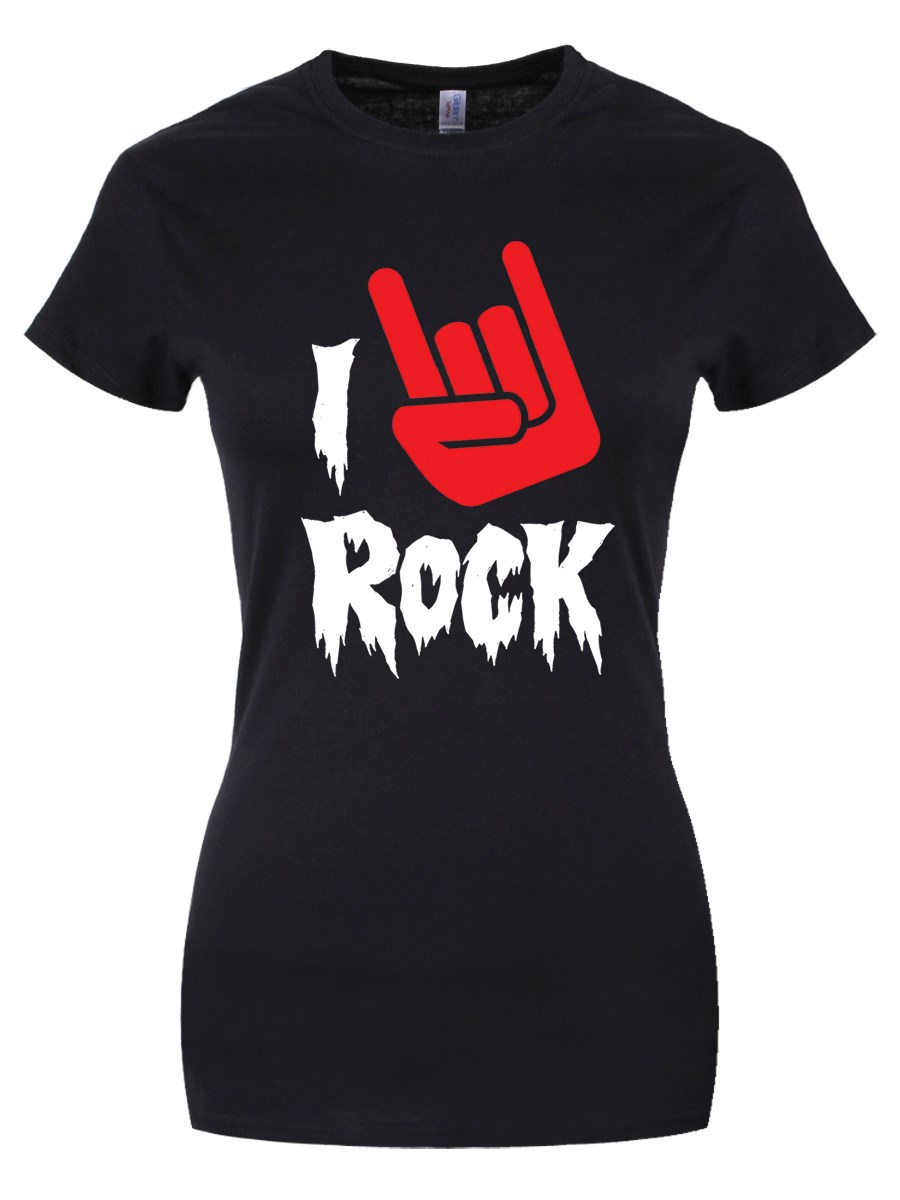8cc4681d7bd I Love Rock T-Shirt - Musical Slogan Black Ladies - Buy Online at ...