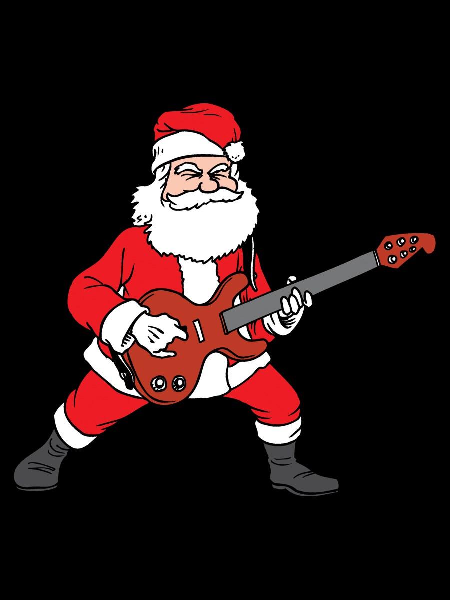 Rockin Santa Novelty Christmas Men S Black T Shirt Buy