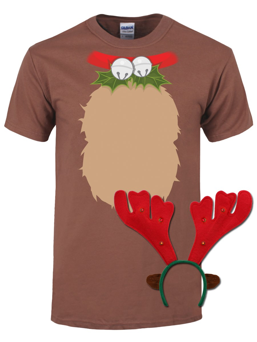 Reindeer t shirt with antlers christmas costume mens for Costume t shirts online