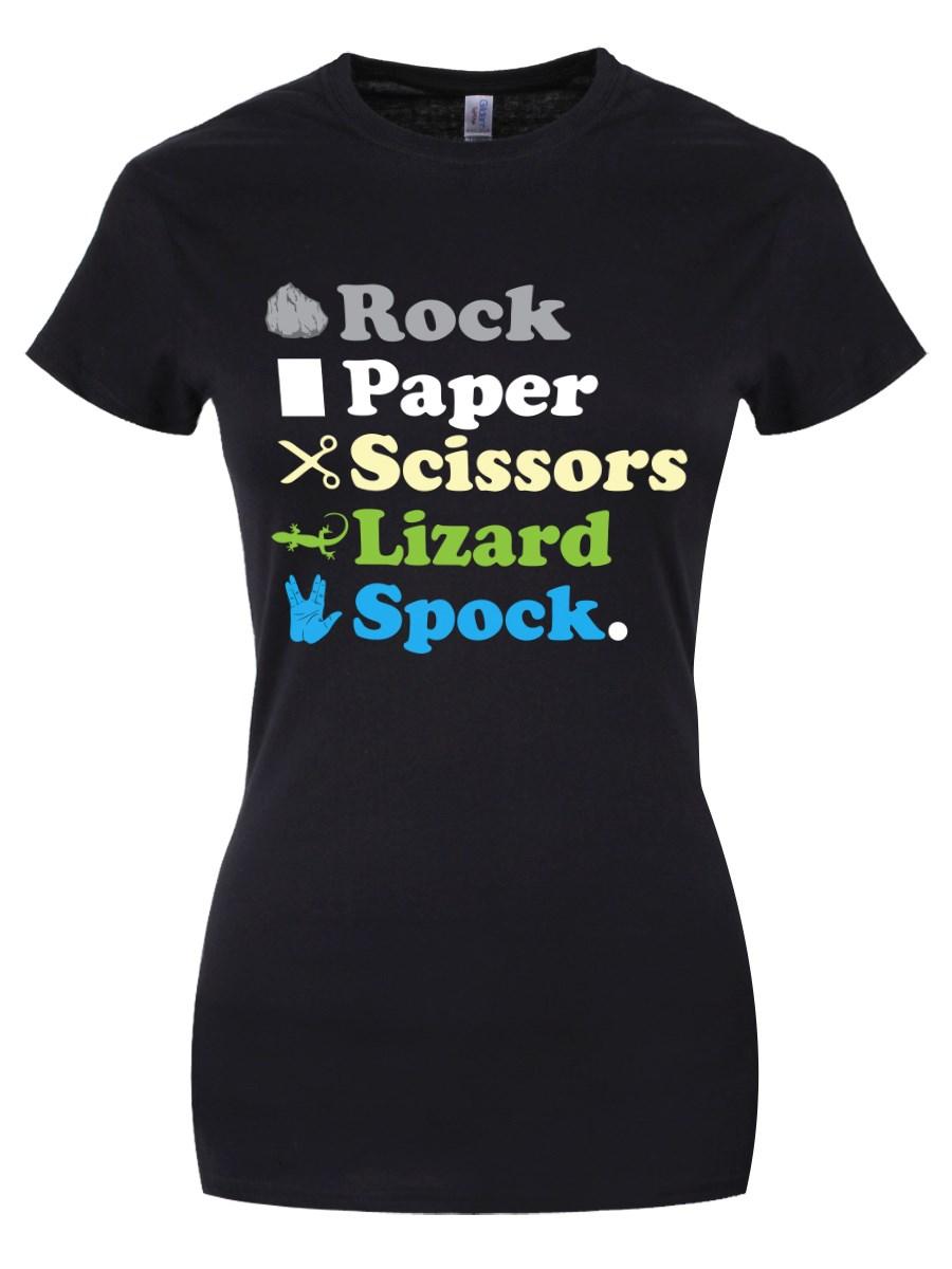 b566f14dbe0 Rock Paper Scissors Lizard Spock Ladies Black T-Shirt, Inspired by ...