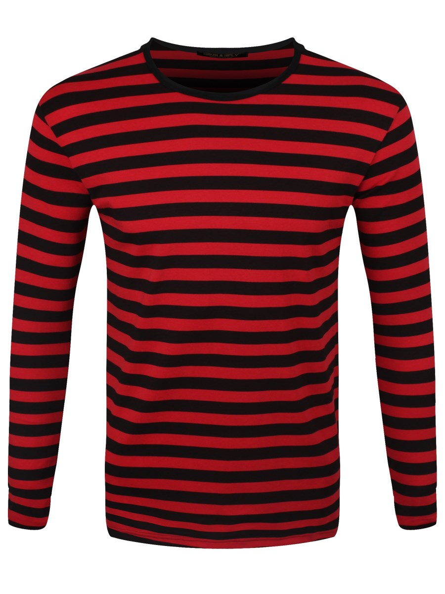 Made by RXB, this shirt is a great find! It pulls on and is black and Red Luxe Striped! It has a V-Neckline and the stripes criss-cross up the front for a great look.