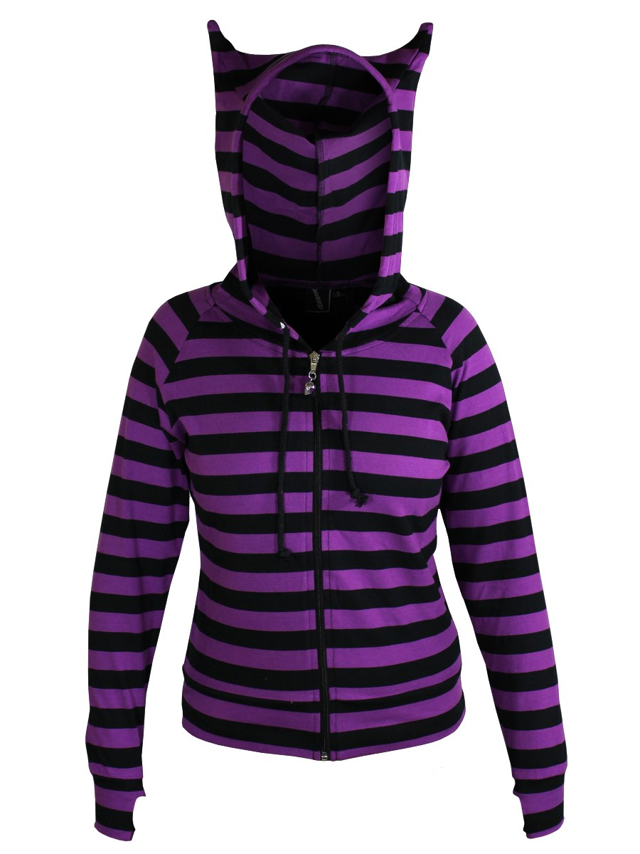 22309fa0 Banned Ladies Black and Purple Striped Hoodie - Buy Online at ...