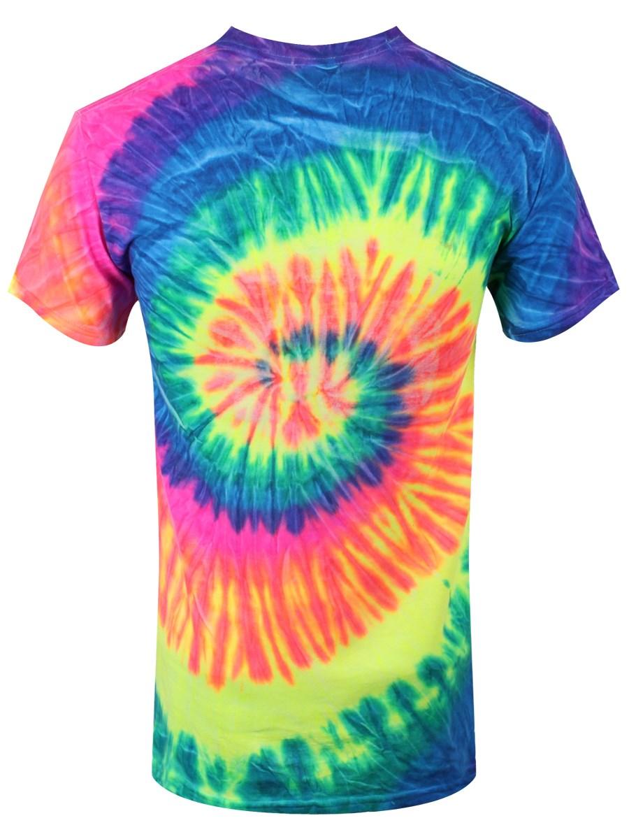 Fuck off men 39 s tie dye t shirt neon rainbow buy online for Tie dye mens t shirts