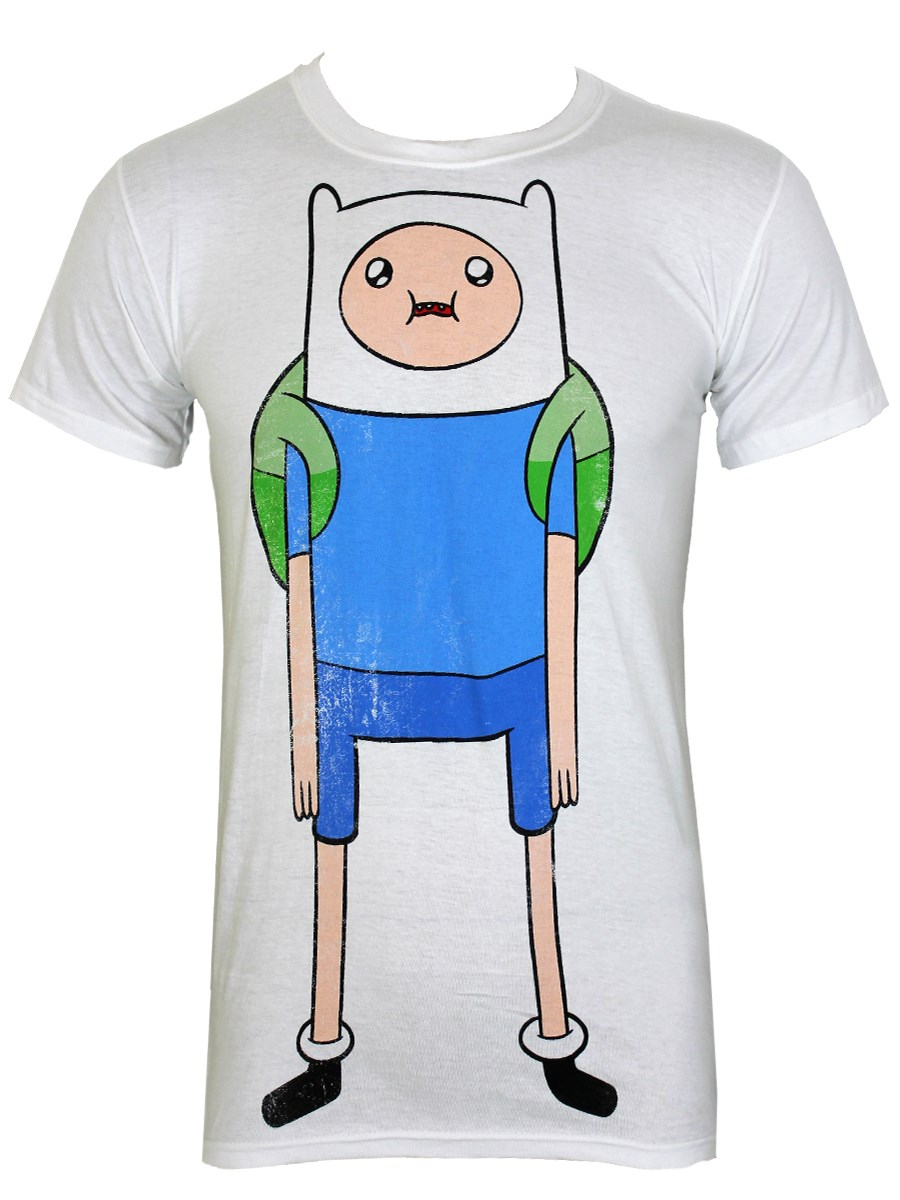 90b60a57e31ed Adventure Time Finn Distressed Men s White T-Shirt - Buy Online at ...
