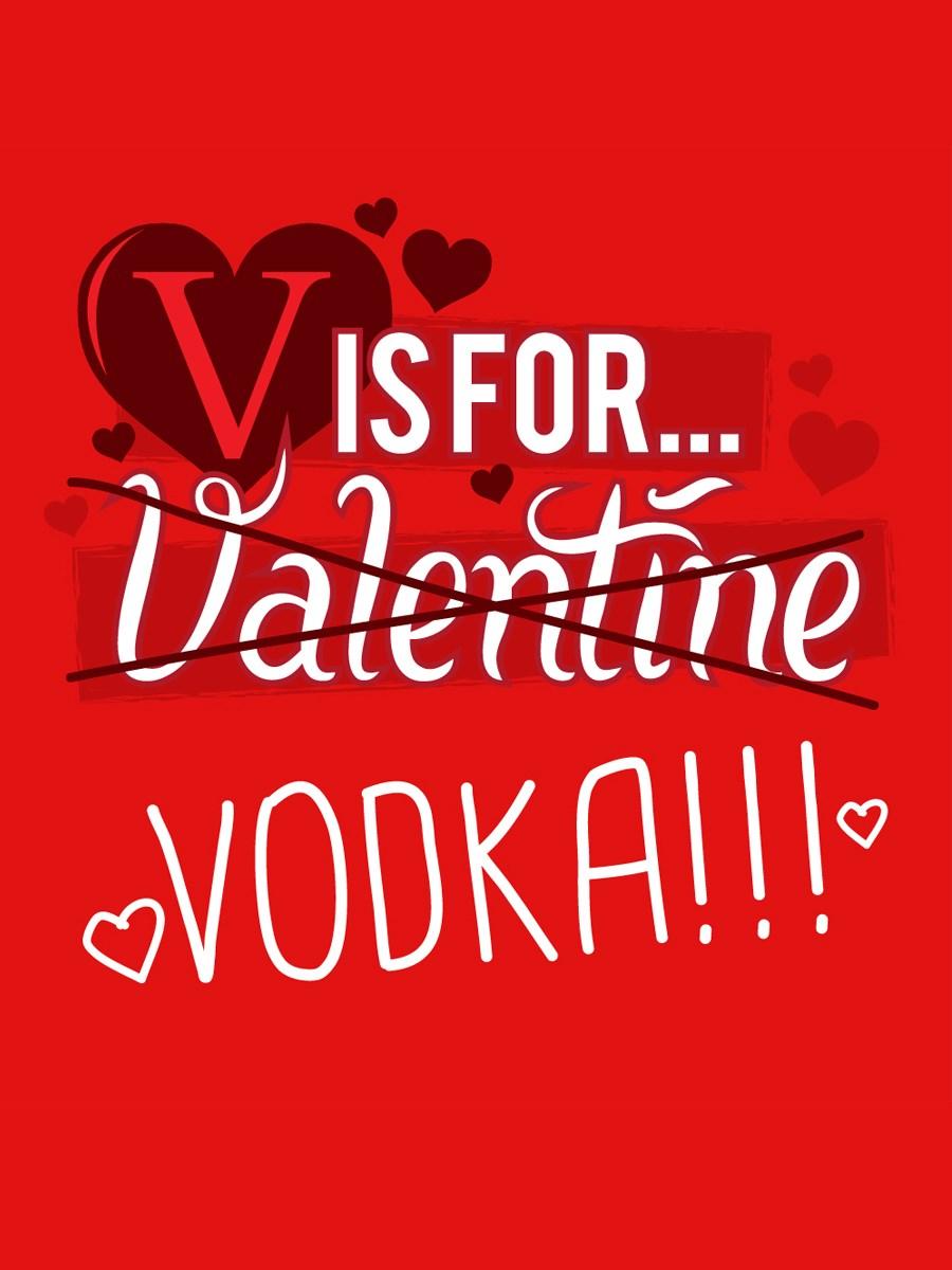 v is for vodka ladies red t shirt - Valentines Vodka