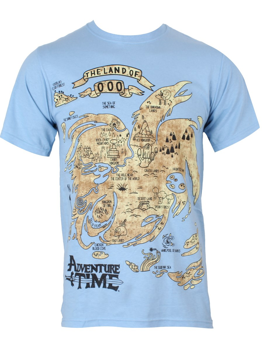 Adventure Time Land of Ooo Map Men\'s Blue T-Shirt