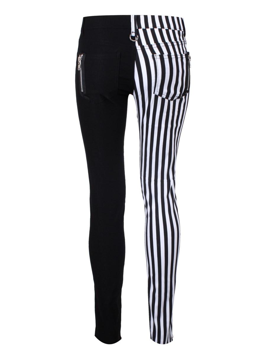 Banned Half Black Half White Striped Skinny Jeans - Buy Online at ...