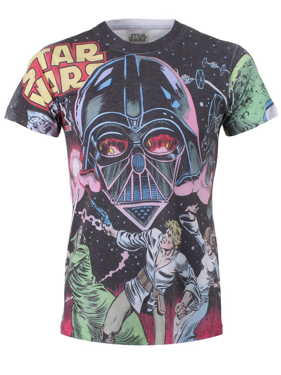 d63f70fb Star Wars Battle With Vader Men's White All Over Print T-Shirt - Buy ...
