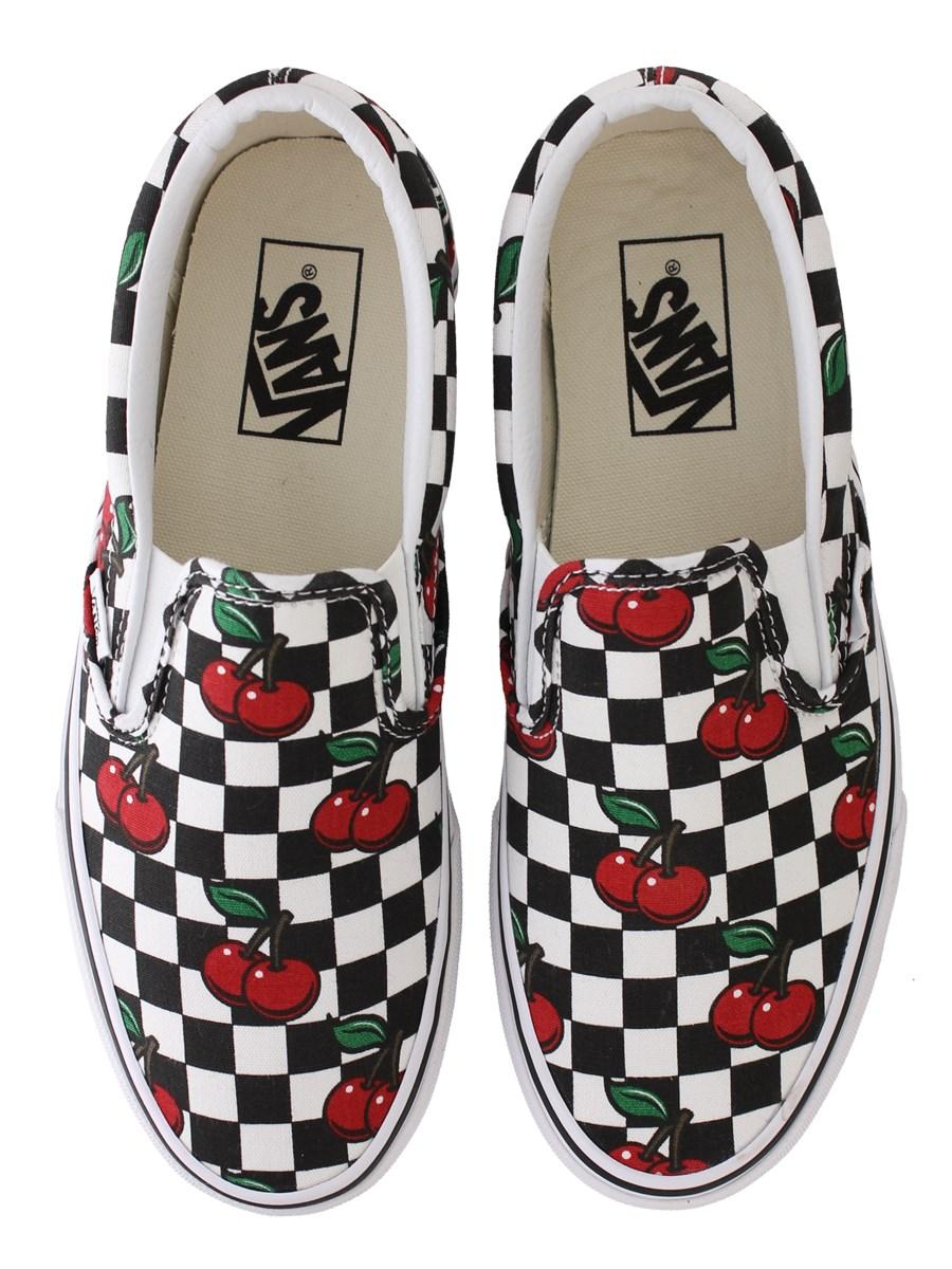 checkerboard vans slip ons with cherries