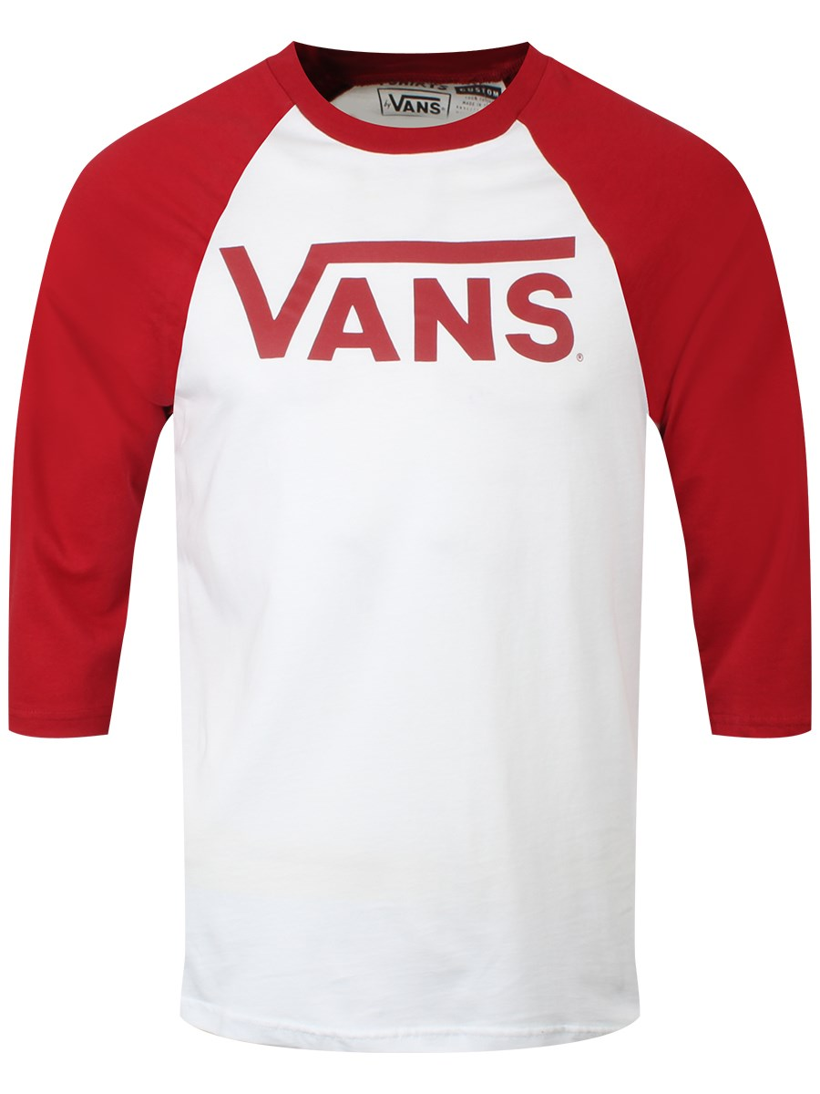 41833c5aa5 Vans Classic Red   White Men s Raglan T-Shirt - Buy Online at ...