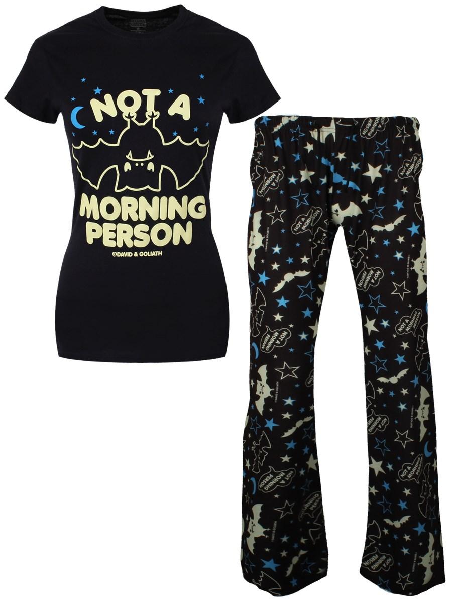 Womens Ladies I Am Not Morning Person Pyjama PJ Basic Pullover T Shirt Tee Top