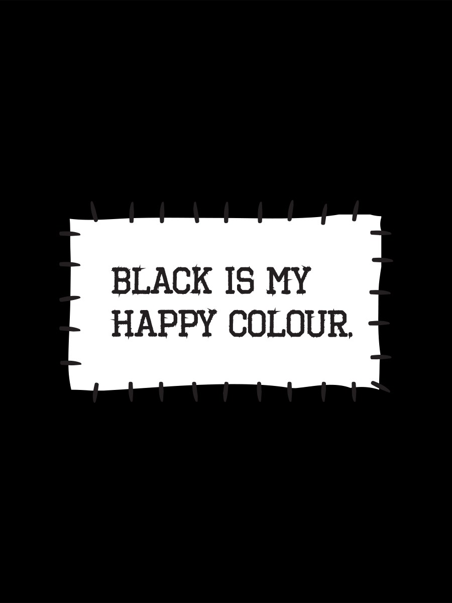 black is my happy colour ladies black t shirt buy online at. Black Bedroom Furniture Sets. Home Design Ideas