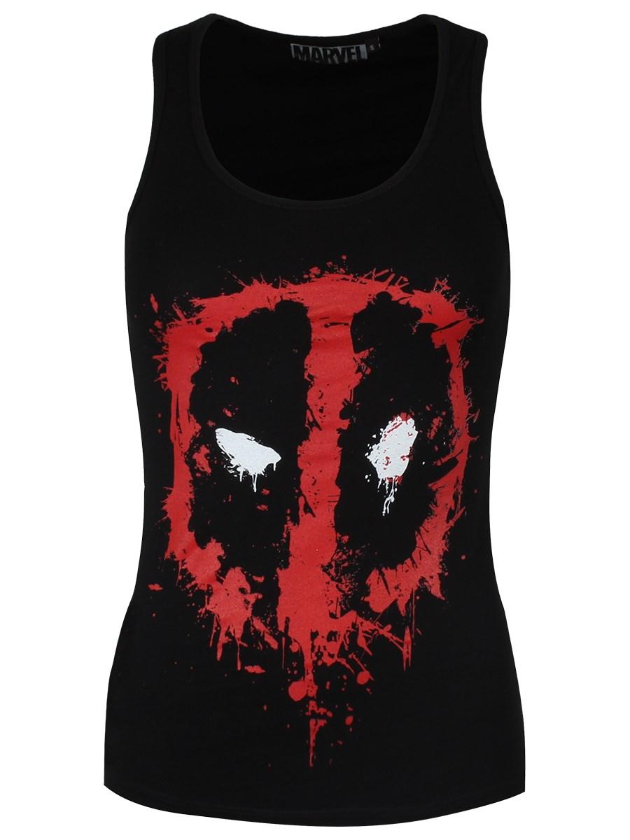 5147cac76b9b1e Marvel Deadpool Splash Head Ladies Black Racerback Vest - Buy Online ...