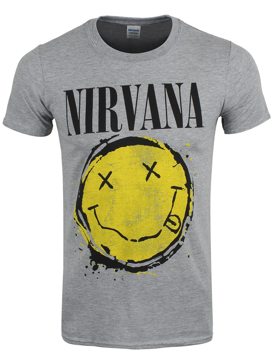 nirvana smiley splat men 39 s grey t shirt buy online at. Black Bedroom Furniture Sets. Home Design Ideas