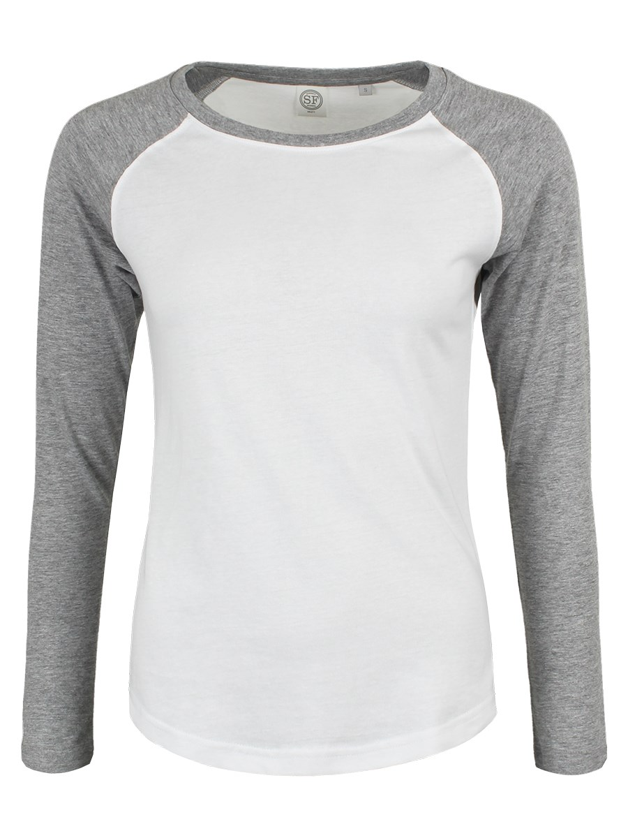White   Heather Grey Ladies Long Sleeve Baseball T-Shirt - Buy ... c3b67cfa6c61
