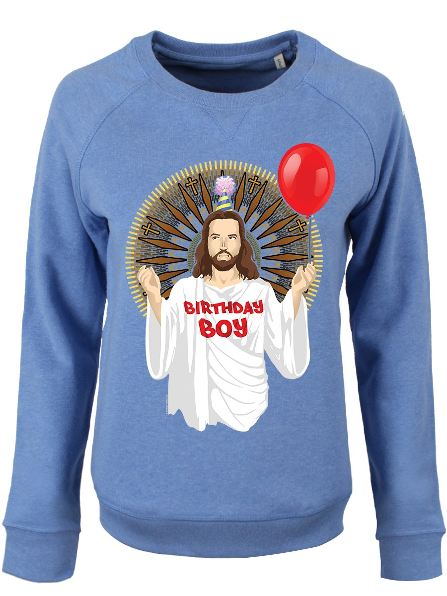 Kersttrui Funny.Birthday Boy Ladies Mid Heather Blue Christmas Sweater Buy Online