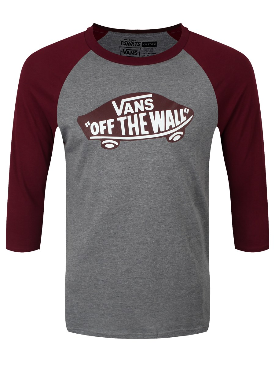 3e2b6af2ca Vans OTW Heather Grey Burgundy Raglan Men s T-Shirt - Buy Online at ...