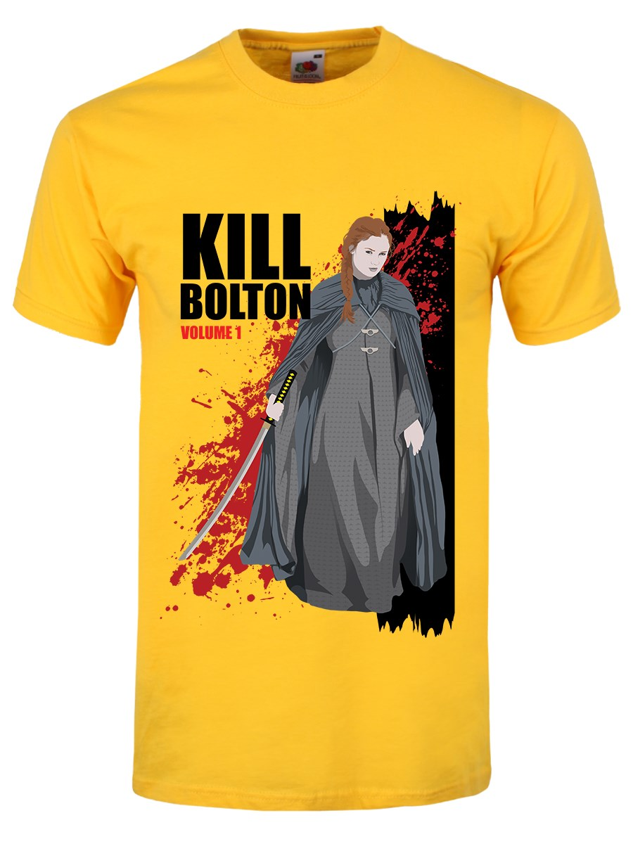 Kill bolton men 39 s yellow t shirt inspired by game of Where can i buy game of thrones t shirts