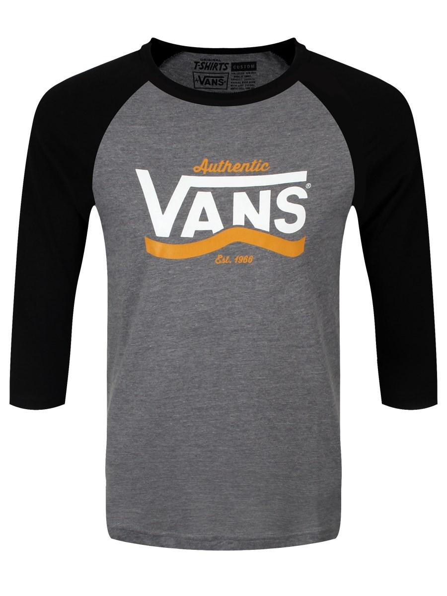 cf0ff85e0b Vans Authentic Stripe Heather Grey Black Raglan Men s T-Shirt - Buy ...