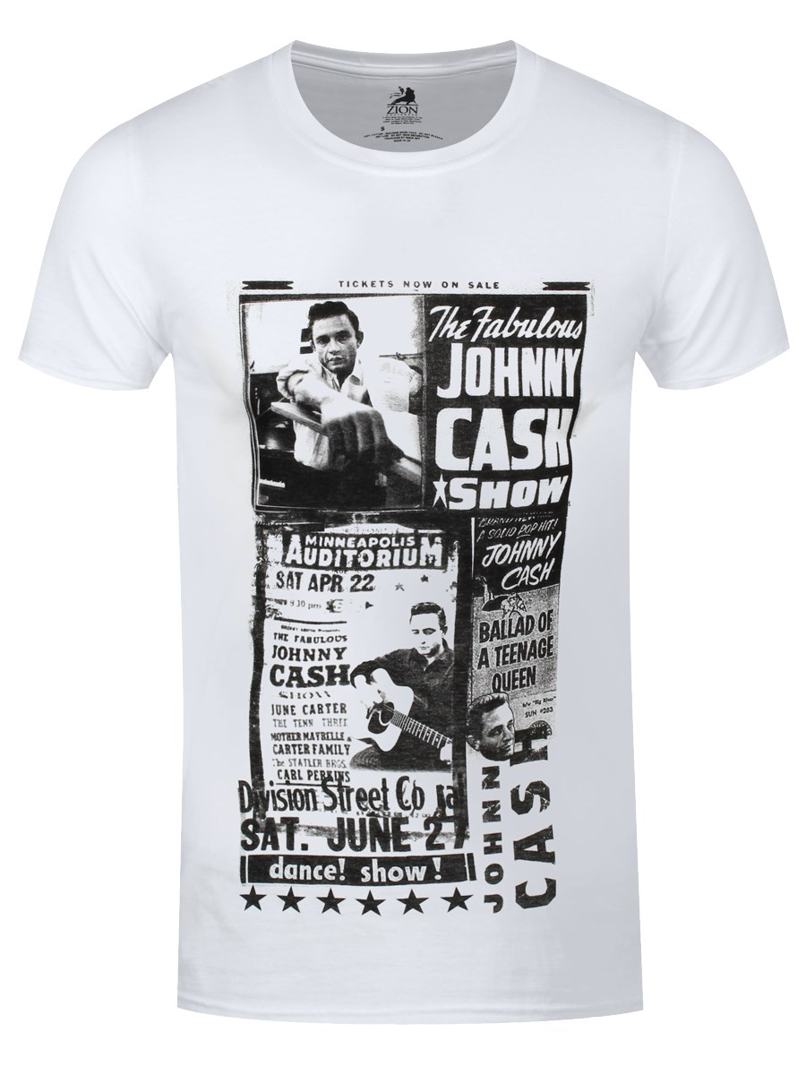 Johnny Cash T Shirt The Fabulous Show New Official Mens White