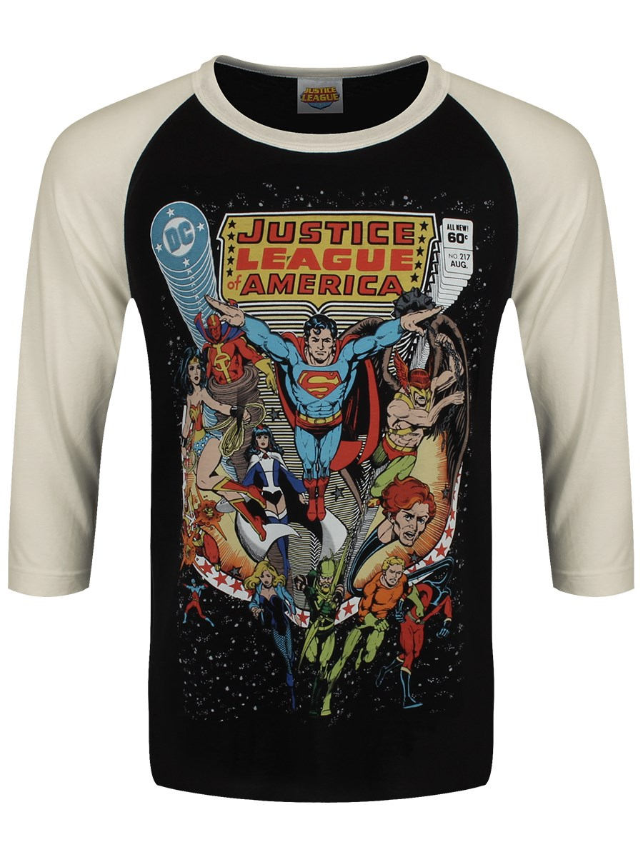 50b88a7ac48 Justice League Cover Men s Black   Vintage White Baseball Shirt ...