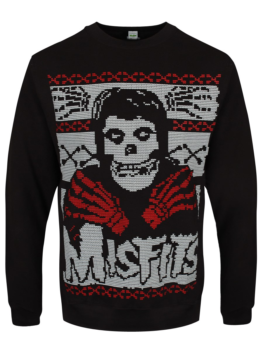 Misfits Christmas Skeleton Men's Black Sweater - Buy Online at ...