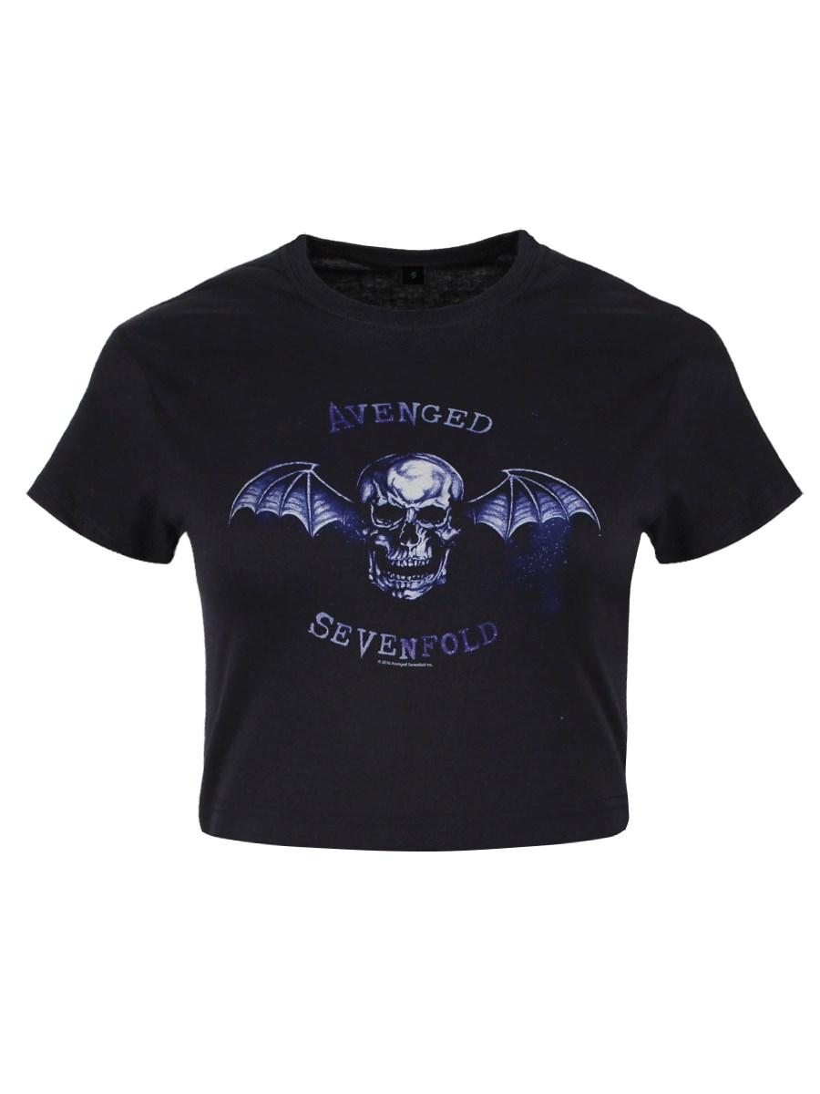 07e1c95cb52 Avenged Sevenfold Bat Skull Ladies Black Floaty T-Shirt - Buy Online ...