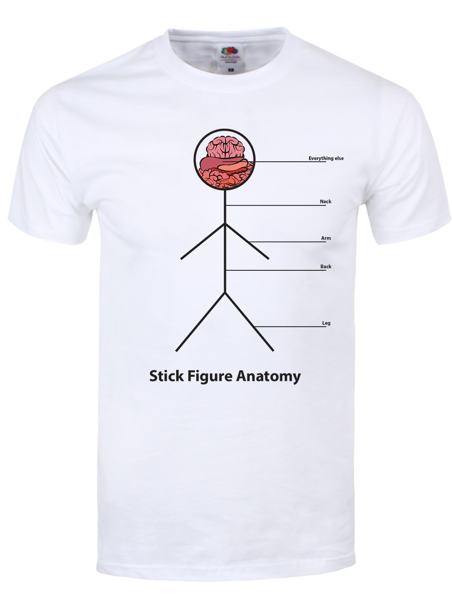 Stick Figure Anatomy Men\'s White T-Shirt - Buy Online at Grindstore.com