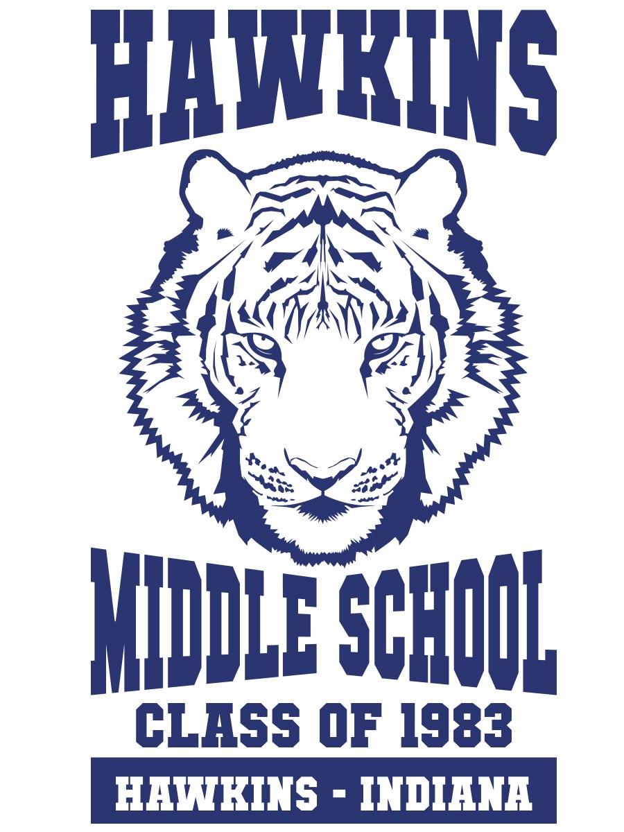 Hawkins Middle School Mens Black White Baseball Shirt Inspired