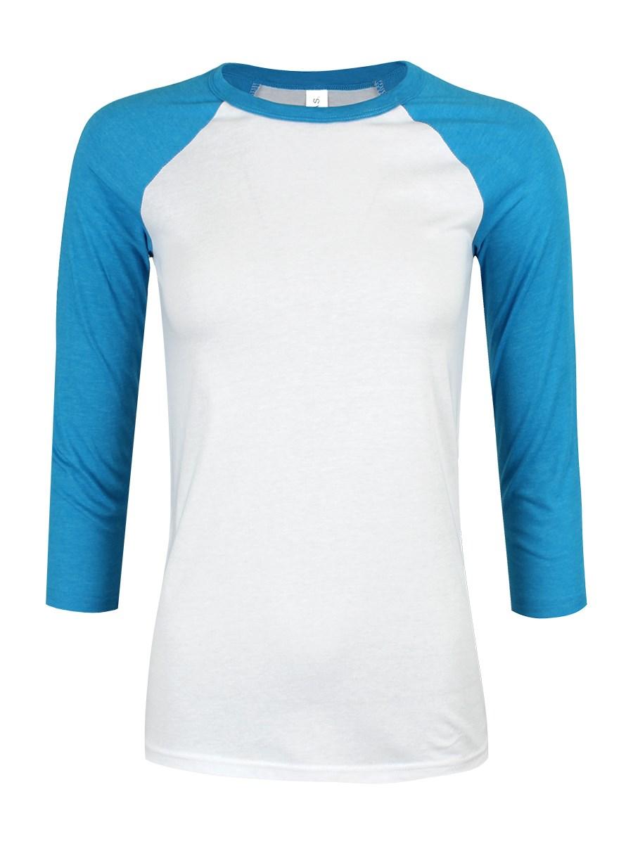 White Neon Blue 3 4 Sleeve Baseball T Shirt Buy Online