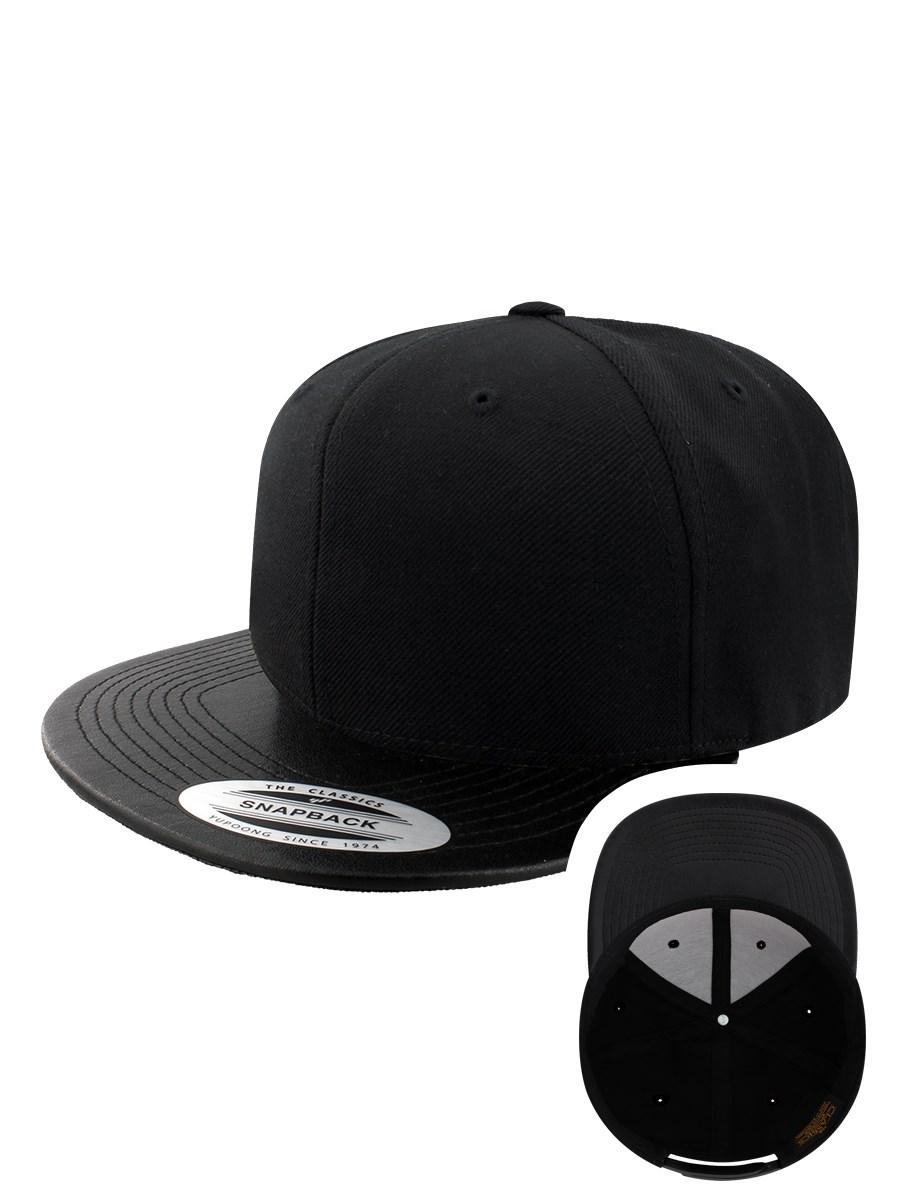 2ac1bfae4e2 Yupoong Classic Flexfit Leather Effect Snapback Cap - Black Black ...