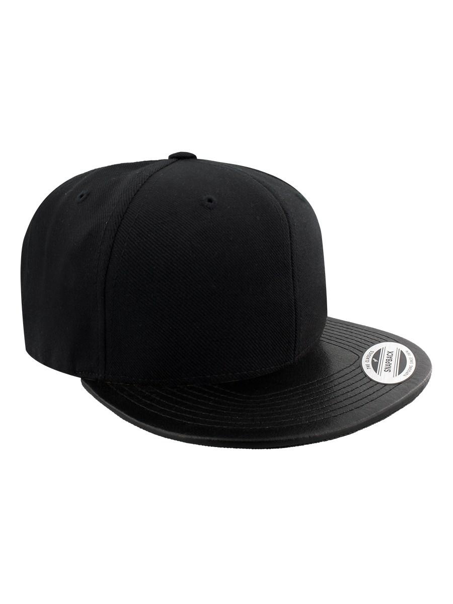 ce74d267be5a8 Yupoong Classic Flexfit Leather Effect Snapback Cap - Black Black ...