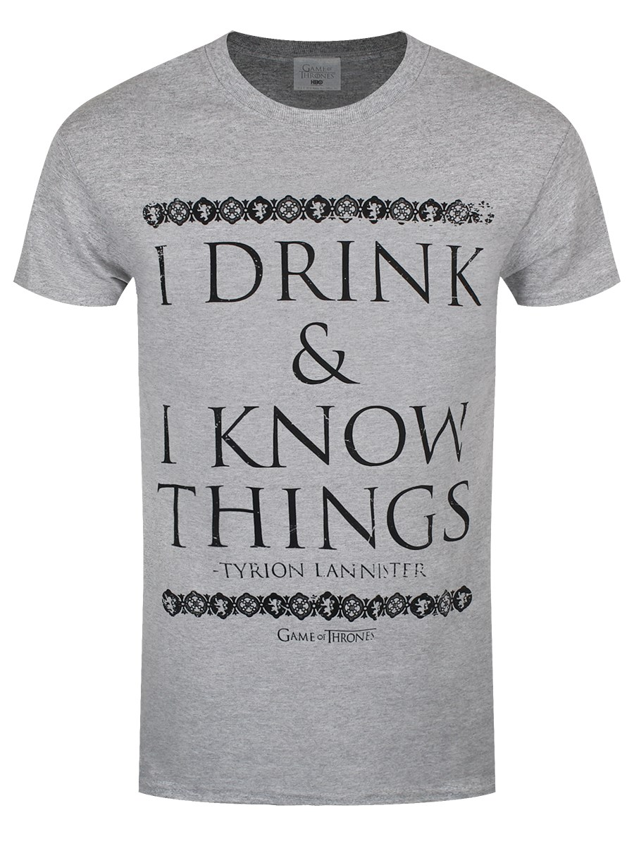 Game of thrones i drink and i know things men 39 s grey t Where can i buy game of thrones t shirts