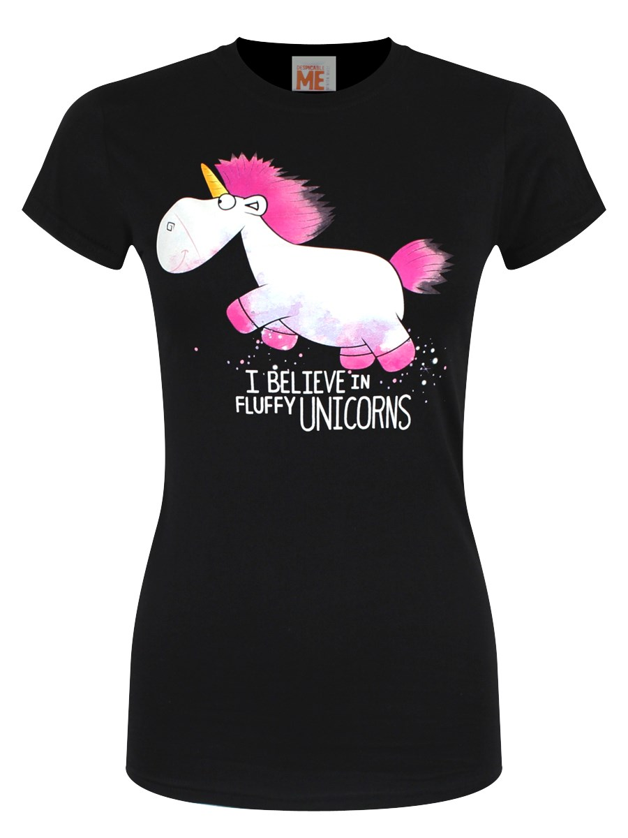 955cca9d6f6 Despicable Me I Believe In Fluffy Unicorns Ladies Black T-Shirt ...