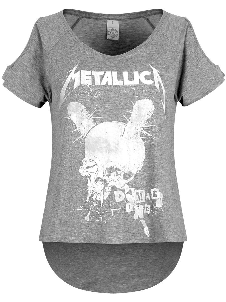 30736e83 Metallica Damage Inc Drop Shoulder Ladies Heather Grey T-Shirt - Buy ...